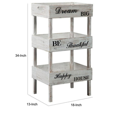 Wooden Storage Shelf with 3 Open Cases and Cut Out Handle Antique White By Casagear Home BM227092