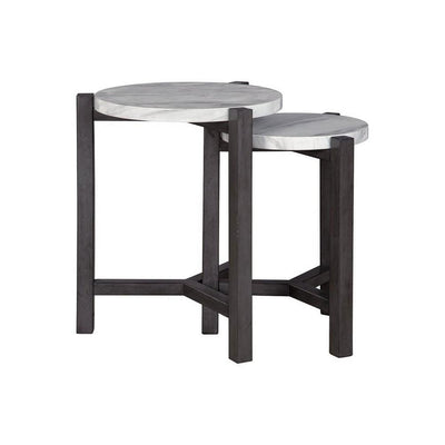 Round Faux Marble Top Accent Table with Wooden Tripod Legs Set of 2 Gray By Casagear Home BM227106