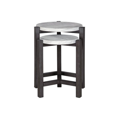 Round Faux Marble Top Accent Table with Wooden Tripod Legs, Set of 2, Gray By Casagear Home