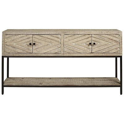 4 Door Console Sofa Table with Carved Diamond Pattern Distressed White By Casagear Home BM227115