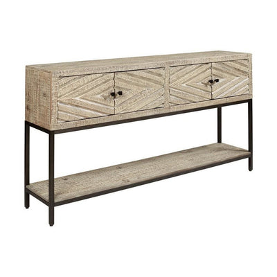 4 Door Console Sofa Table with Carved Diamond Pattern, Distressed White By Casagear Home