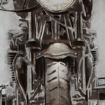 Hand Painted Canvas Fabric Wall Art with Motorcycle Design Gray and Black By Casagear Home BM227121