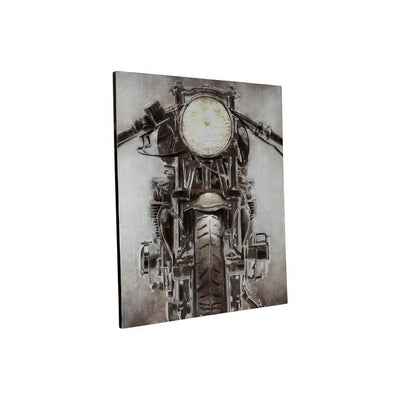 Hand Painted Canvas Fabric Wall Art with Motorcycle Design, Gray and Black By Casagear Home