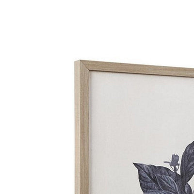 Wooden Wall Art with Painted Botanical Flowers Set of 2 Brown and Blue By Casagear Home BM227139