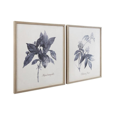 Wooden Wall Art with Painted Botanical Flowers, Set of 2, Brown and Blue By Casagear Home