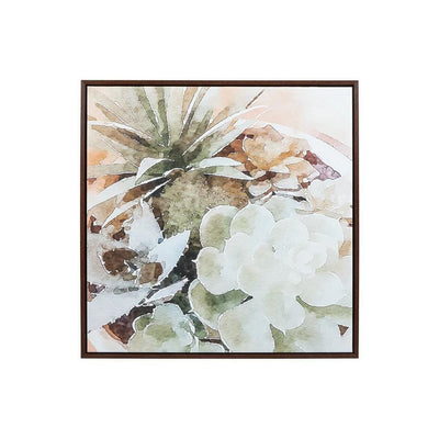 Wooden Frame Wall Art with Painted Succulent Design Multicolor By Casagear Home BM227141