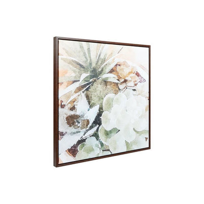 Wooden Frame Wall Art with Painted Succulent Design, Multicolor By Casagear Home