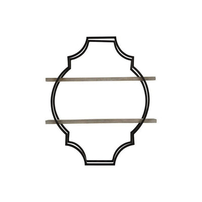 2 Tier Wooden Wall Shelf with Quatrefoil Design Open Metal Frame, Black By Casagear Home