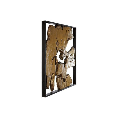 Square Frame Wall Decor with Wooden Abstract Cut Out Pattern,Black and Gold By Casagear Home BM227148
