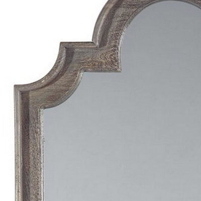 Wooden Frame Accent Mirror with Quatrefoil Design Antique Gray and Silver By Casagear Home BM227151