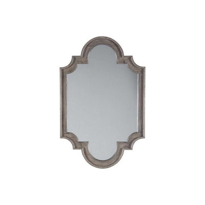 Wooden Frame Accent Mirror with Quatrefoil Design, Antique Gray and Silver By Casagear Home