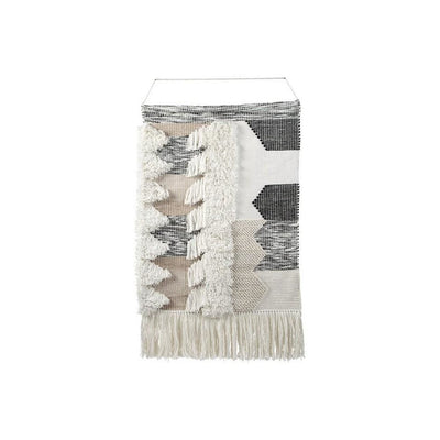 Fabric Wall Decor with Fringes and Geometric Pattern Black and White By Casagear Home BM227158