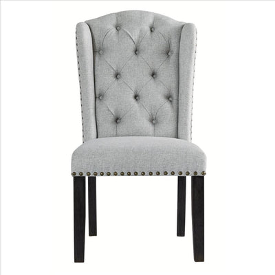 Button Tufted Fabric Upholstered Side Chair with Wooden Legs,Set of 2 Gray By Casagear Home BM227171
