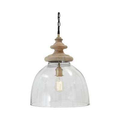 Glass Dome Pendant Light with Wood Finial Crown Top, Brown and Clear By Casagear Home