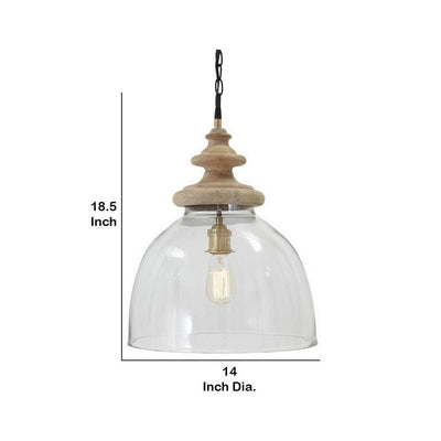 Glass Dome Pendant Light with Wood Finial Crown Top Brown and Clear By Casagear Home BM227175