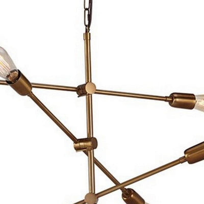 Contemporary Metal Pendant Light with Tubular Rods Gold By Casagear Home BM227179