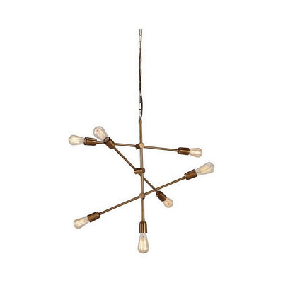 Contemporary Metal Pendant Light with Tubular Rods, Gold By Casagear Home