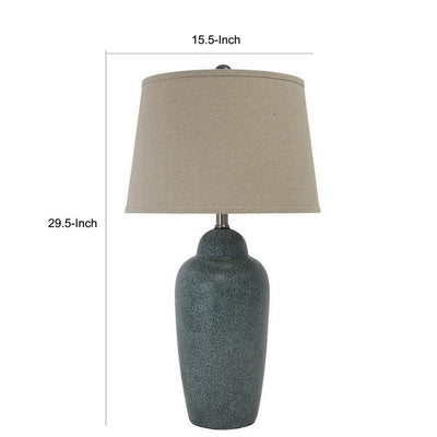 150 Watt Ceramic Body Table Lamp with Tapered Fabric Shade Green and Beige By Casagear Home BM227185