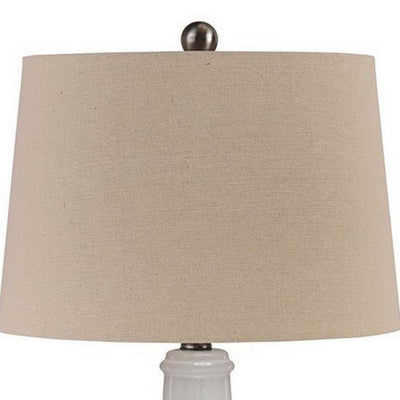 Ceramic Body Table Lamp with Brushed Details Set of 2 Beige and White By Casagear Home BM227188