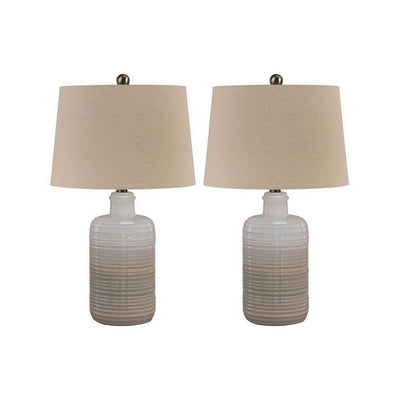 Ceramic Body Table Lamp with Brushed Details, Set of 2, Beige and White By Casagear Home