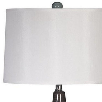 Pot Bellied Ceramic Table Lamp with Brushed Details,Set of 2,Gray and White By Casagear Home BM227189