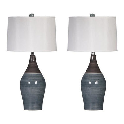 Pot Bellied Ceramic Table Lamp with Brushed Details,Set of 2,Gray and White By Casagear Home
