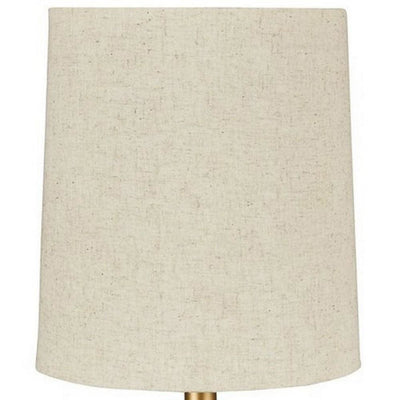 Pot Bellied Metal Table Lamp with Textured Golden Embellishment White By Casagear Home BM227194