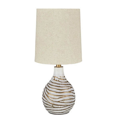 Pot Bellied Metal Table Lamp with Textured Golden Embellishment, White By Casagear Home