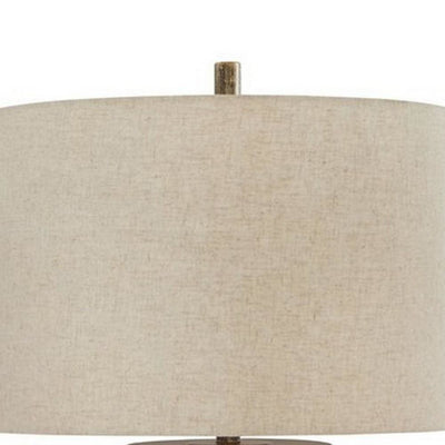 150 Watt Metal Body Table Lamp with Network Design Gray and Beige By Casagear Home BM227198