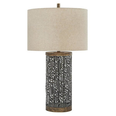 150 Watt Metal Body Table  Lamp with Network Design, Gray and Beige By Casagear Home