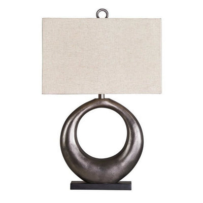 Metal Table Lamp with Center Cutout and Fabric Shade, Off White and Black By Casagear Home
