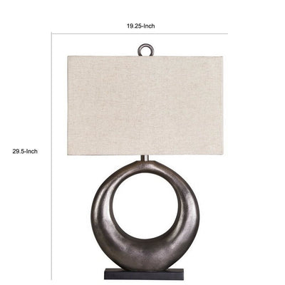 Metal Table Lamp with Center Cutout and Fabric Shade Off White and Black By Casagear Home BM227200