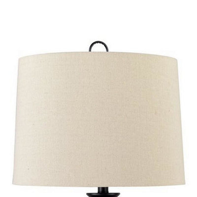 Orb Shaped Metal Table Lamp with Tapered Fabric Shade Black and White By Casagear Home BM227202