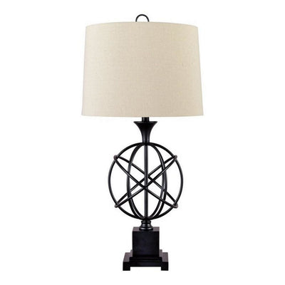 Orb Shaped Metal Table Lamp with Tapered Fabric Shade, Black and White By Casagear Home