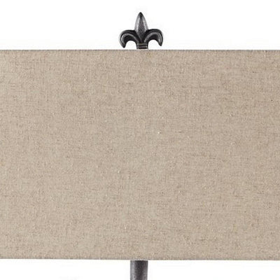 Metal Body Table Lamp with Scrolled Details and Fabric Shade,Gray and Beige By Casagear Home BM227203