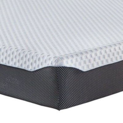 Fabric Upholstered Memory Foam California King Mattress Blue and White By Casagear Home BM227227