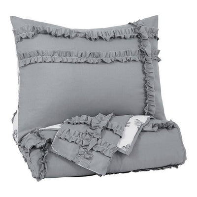 2 Piece Fabric Twin Comforter Set with Fringe Details, Gray and White By Casagear Home