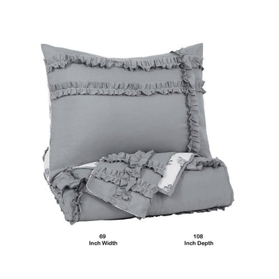 2 Piece Fabric Twin Comforter Set with Fringe Details Gray and White By Casagear Home BM227237
