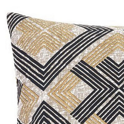 3 Piece Fabric Queen Comforter Set with Geometric Print Black and Brown By Casagear Home BM227244