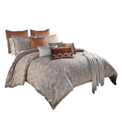 12 Piece King Polyester Comforter Set with Textured Details, Gray and Brown By Casagear Home