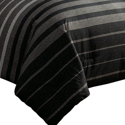 10 Piece King Polyester Comforter Set with Striped Details Black and Gray By Casagear Home BM227294