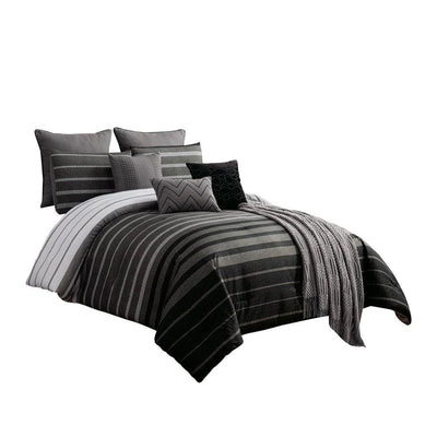 10 Piece King Polyester Comforter Set with Striped Details, Black and Gray By Casagear Home