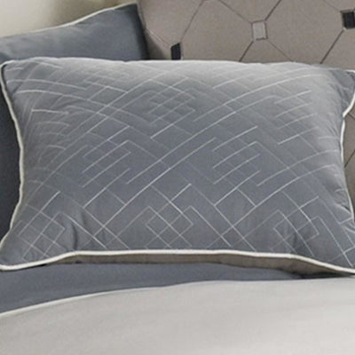 7 Piece Queen Polyester Comforter Set with Geometric Design Blue and Gray By Casagear Home BM227299