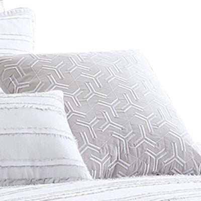 6 Piece King Cotton Comforter Set with Frayed Edges White and Gray By Casagear Home BM227300
