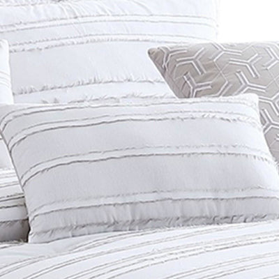6 Piece Queen Cotton Comforter Set with Frayed Edges White and Gray By Casagear Home BM227301