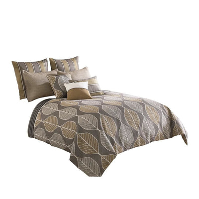 10 Piece King Polyester Comforter Set with Leaf Pattern Design, Multicolor By Casagear Home