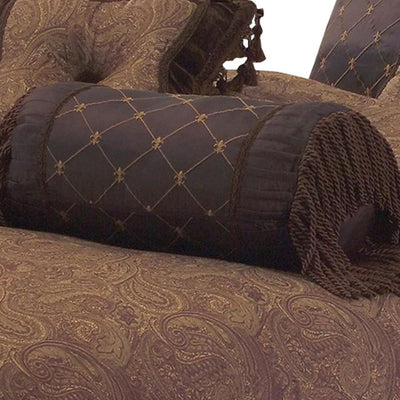 10 Piece King Polyester Comforter Set with Paisley Pattern Design Brown By Casagear Home BM227304