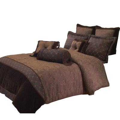 10 Piece King Polyester Comforter Set with Paisley Pattern Design, Brown By Casagear Home