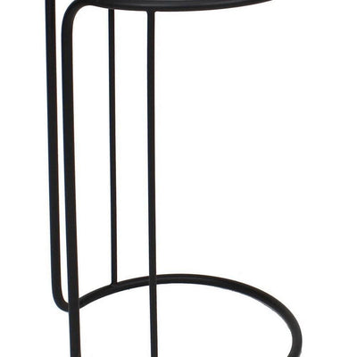 Round Mirror Top Accent Tables with Tubular Frame Set of 2 Black By Casagear Home BM227312