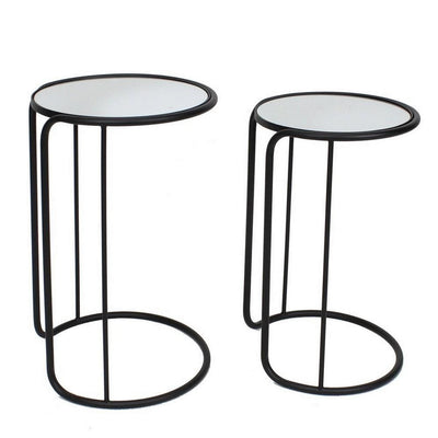Round Mirror Top Accent Tables with Tubular Frame, Set of 2, Black By Casagear Home